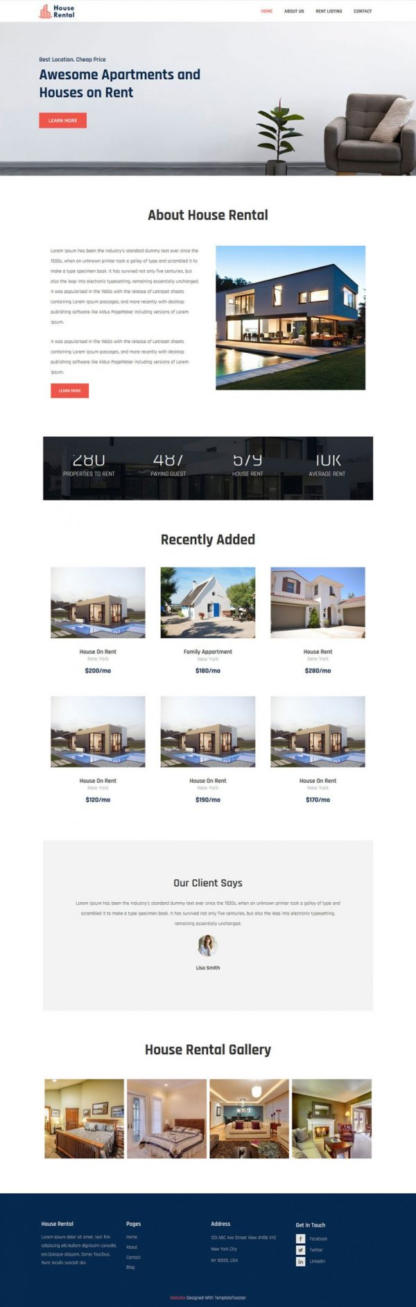 house rental apartments and house html template