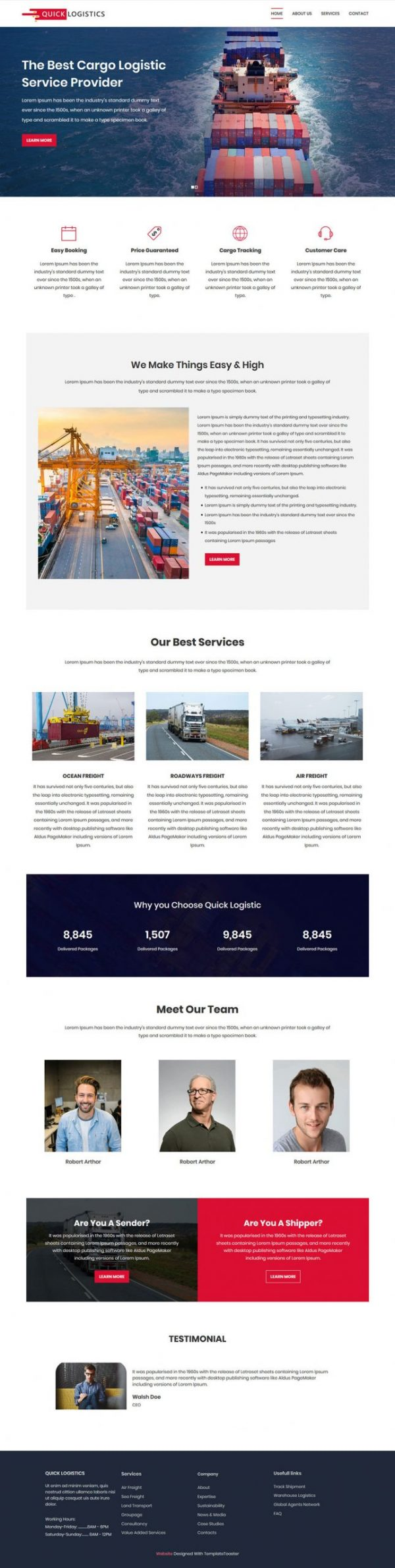 quick logistics transport and logistic html template