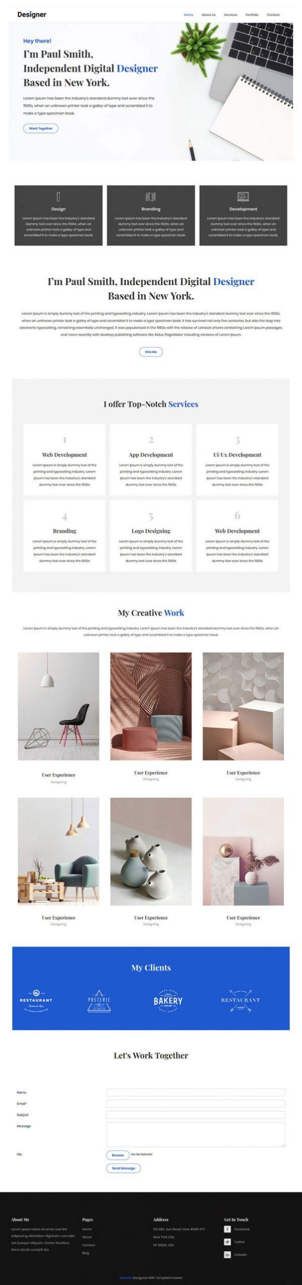 single page designer portfolio html template